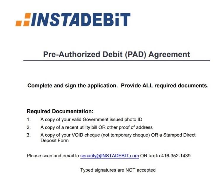INSTADEBIT official document