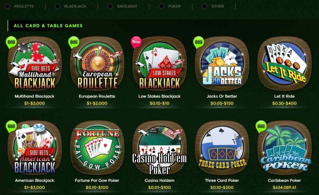 888 casino table games, 888 blackjack, 888 roulette, 888 video poker.