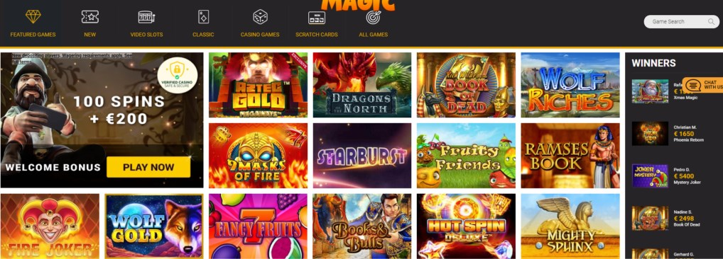 winners magic casino games